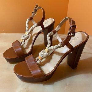 MICHAEL KORS Tan Leather Rope Platform Sandal